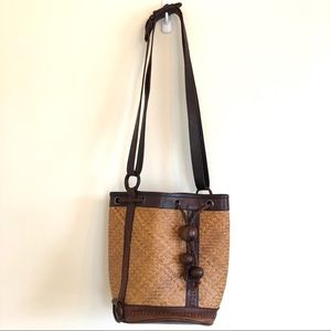 Vintage Leather Woven Straw Bucket Bag Wood Beads